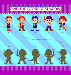 Find correct shadow cartoon pirates characters vector