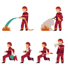 fireman extinguishing fire set isolated on white vector image