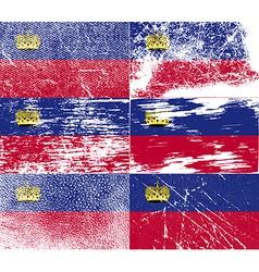 Flag of Liechtenstein with old texture vector image