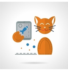 Flat color icon for cat with phone vector