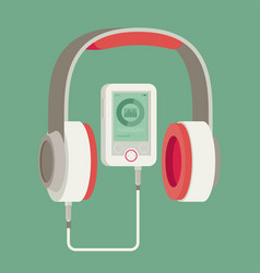 flat headphones with player vector image