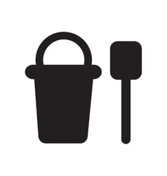 Flat icon in black and white style bucket shovel vector