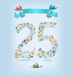 floral number twenty five with ribbon and birds vector image