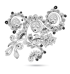 Flower pattern engraving scroll motif for vintage vector image