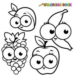 Fruit cartoon set vector