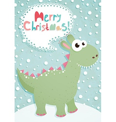 funny christmas postcard with dragon vector image