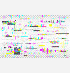 Glitch vhs background color distortions on vector
