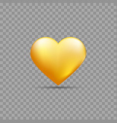 gold heart with shadow vector image