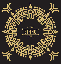 Gold mexican tribal frame design - ethno atzec vector