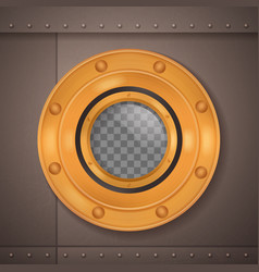 Gold porthole realistic composition vector