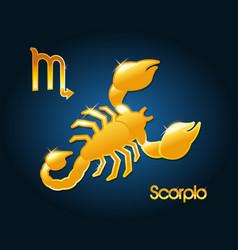 Gold scorpio zodiac astrology sign vector