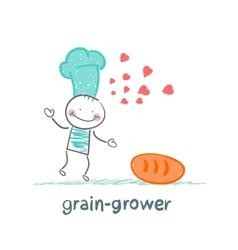 grain grower reads bread recipe vector image