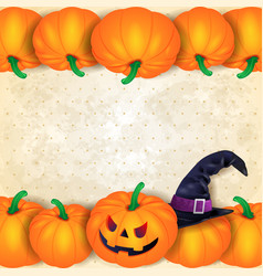 Halloween background with borders of pumpkins and vector