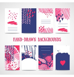 Hand drawn 8 cards with trendy textures Business vector image