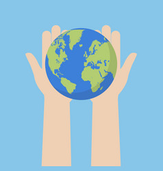 Hand holding earth globe vector