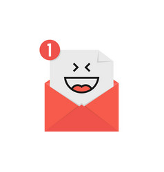 happy emoji in red letter notification vector image