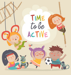happy kids and sport vector image