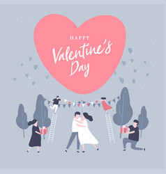 happy valentine day with lovely couple celebration vector image