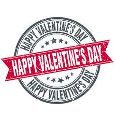 happy valentines day round grunge ribbon stamp vector image