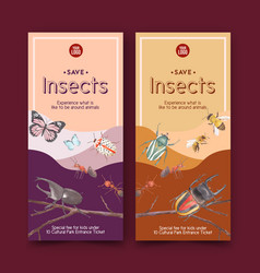 Insect and bird flyer design with butterfly vector