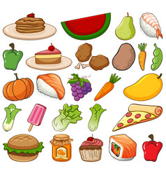 Large set fruits and vegetables on white vector