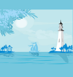 lighthouse seen from a tiny beach vector image