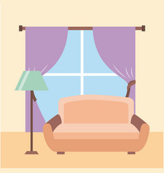 Living room interior a sofa lamp floor window vector