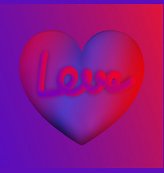 love lettering on purple heart colorful neon vector image