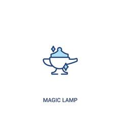 Magic lamp concept 2 colored icon simple line vector