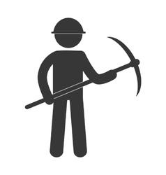 mining man with helmet pick axe figure pictogram vector image