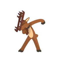 Moose standing in dub dancing pose cute cartoon vector