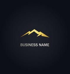 mountain design gold logo vector image