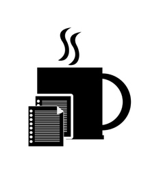 mug and documents icon vector image