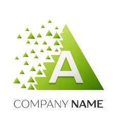 number a logo symbol in colorful triangle vector image