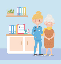 nurse and grandmother in consultation room vector image