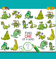 One a kind game with dragons fantasy characters vector