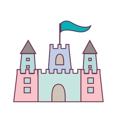 Pastel color sandcastle icon with flag vector
