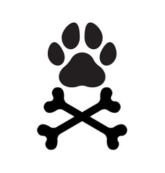 Paw bones crossed vector