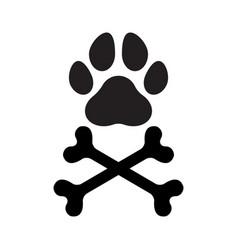 paw bones crossed vector image