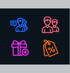 People couple and add gift icons discount tags vector