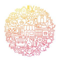 pet shop line icon circle design vector image