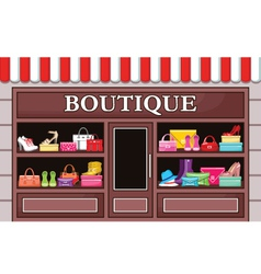 Picture of a fashion boutique with shoes and bags vector image