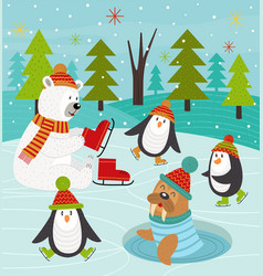 Polar animals on rink vector