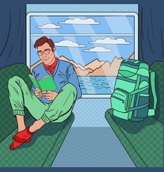 pop art man travelling by train and reading book vector image