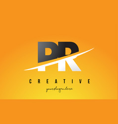 Pr p r letter modern logo design with yellow vector