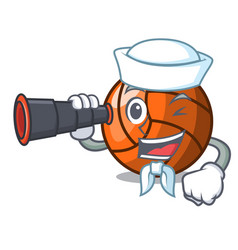 Sailor with binocular volleyball mascot cartoon vector