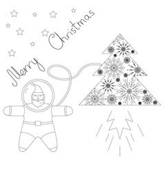 Santa is flying in space near his rocket tree vector