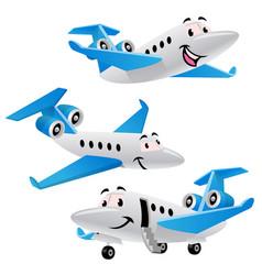 set bundle cartoon private jet plane character vector image