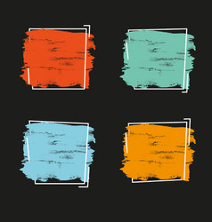 Set grunge brush paint texture design vector
