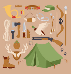 set of hunting symbols camping objects design vector image